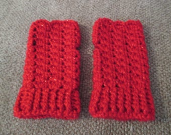Crocheted Fingerless Gloves Red with Red Sparkle