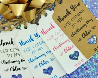 """Christening Day/ Baptism Gift Tags """"Thank You"""" Label Kraft, Personalised"""