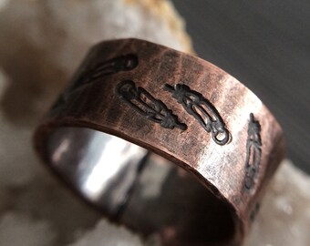 Rustic Feather Ring in Oxidized Copper - Custom Sized & Stamped BOHO Wedding Band or 7th Anniversary Anniversary Gift