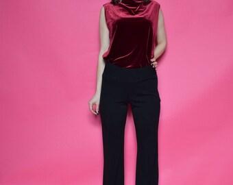 Vintage 90's Velvet Turtleneck Blouse / Burgundy Velvet Sleeveless Top - Size Large