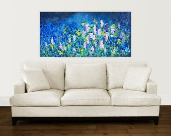 Blue garden, original large painting, acrylics on canvas