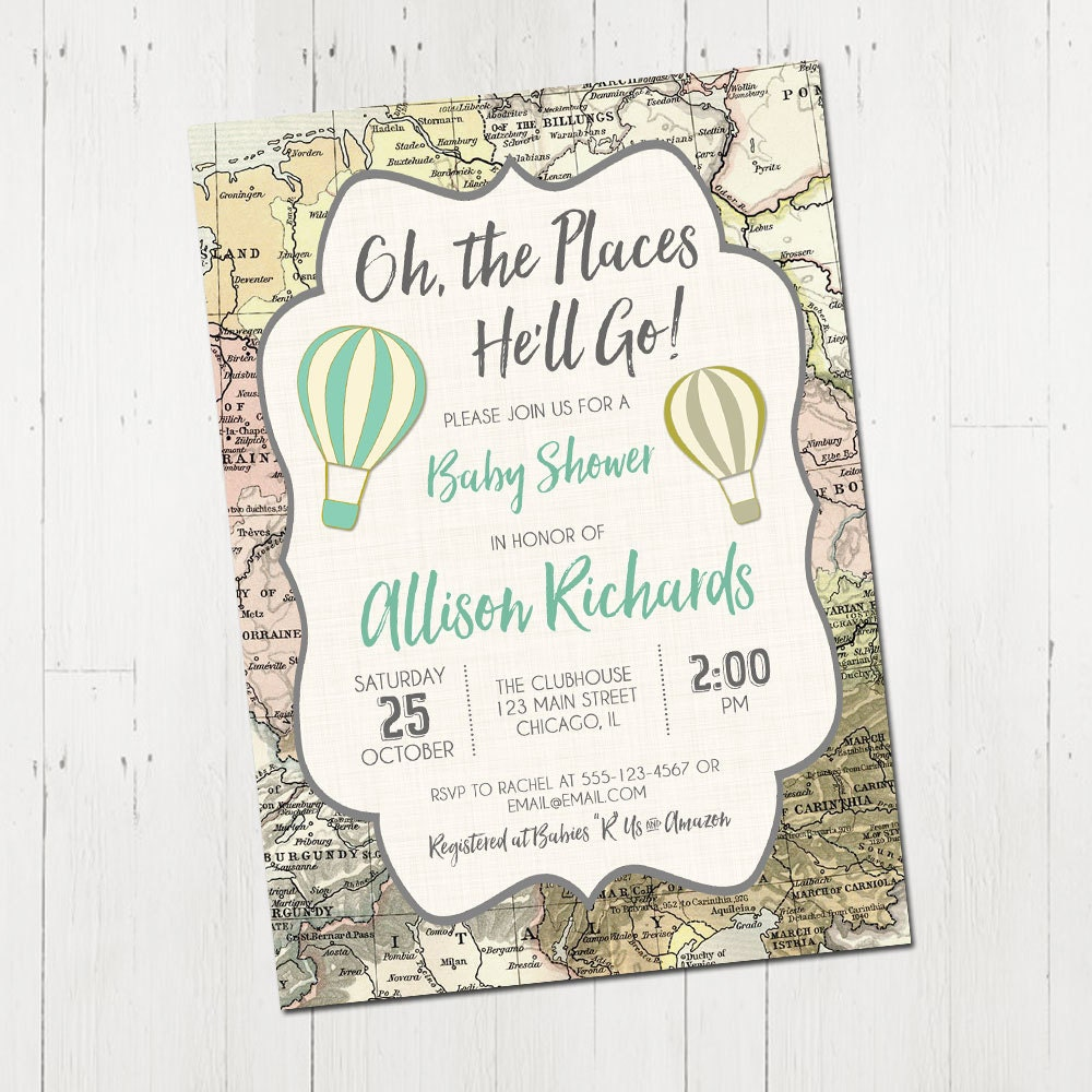 Oh the places you\'ll go invitation oh the places