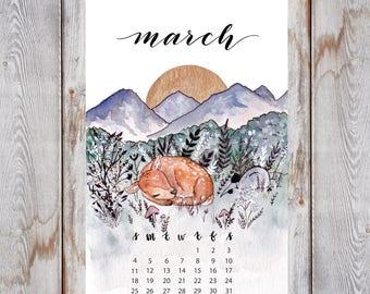 Spring Meadow Watercolor Calendar Print Deer and Mountain Painting