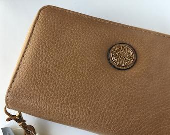 Cash Envelope Wristlet Wallet - Dave Ramsey Envelope System Tabs Included - Light Brown