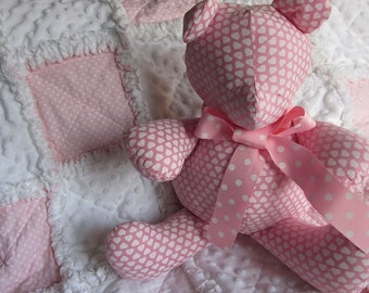 Handmade teddy bear, holiday bear,  pink, heart, polka dot, rag quilt, stuffed animal