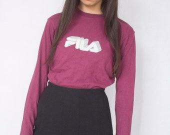 90s Fila Long Sleeve T-shirt -sweater, nike, adidas, sportswear, vaporwave, cyber, club kid, aesthetic-