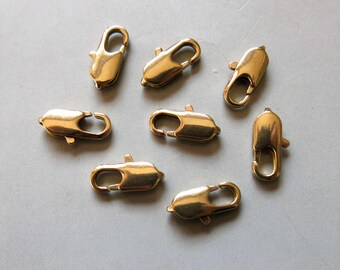 50pcs Raw Brass Lobster Claw Clasp 10mm x 4mm- F288