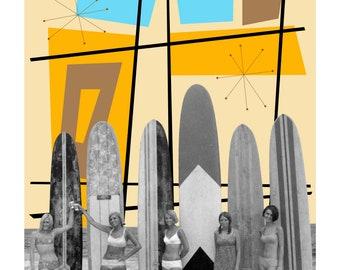 60s Surfer Girls Atomic Mid Century Eccentric Pop Art Print Eames Shag Style Mid Century Pop Art