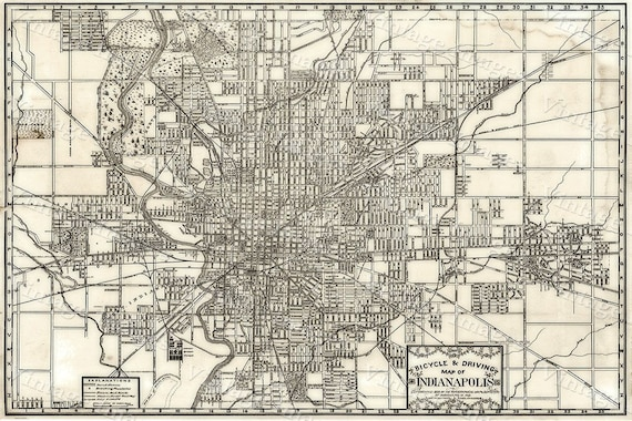 Indianapolis Bicycle Map Large 1899 Vintage Historic