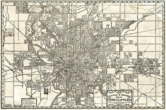 Indianapolis Bicycle Map Large 1899 Vintage Historic Indianapolis Map Restoration decor old Style wall Map Indiana Fine art Print Poster
