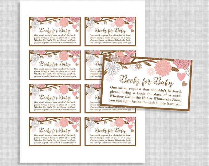 Books For Baby Request Cards, Invitation Insert, Pink Mason Jar Baby Shower, Neutral, DIY Printable, INSTANT DOWNLOAD