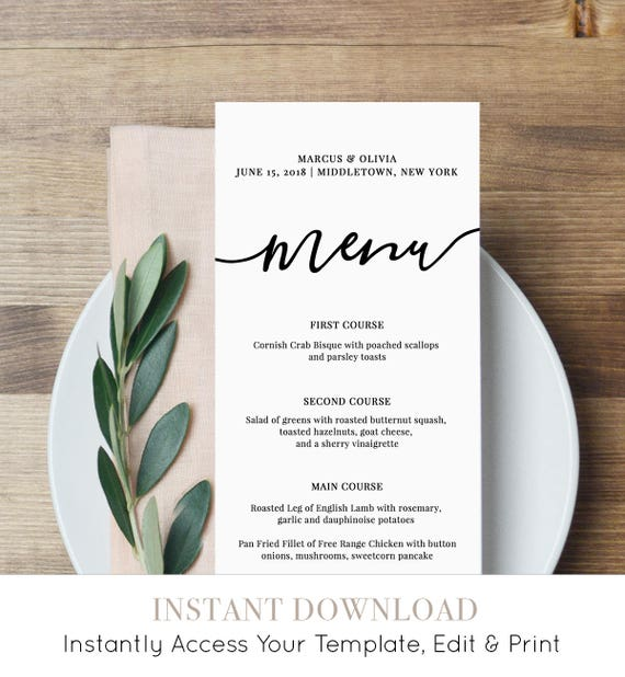 Menu Card Template, Printable Wedding Menu, Modern Calligraphy Dinner Party Menu, DIY, Instant Download, 100% Editable, Templett  #030-114WM