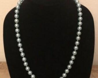 Vintage - Light Blue Faux Pearl Necklace