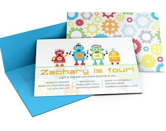 Robot Invitation | Robots | Robot Invite | Robot Birthday | Robot Birthday Party | Custom Printable | Bot-Friends