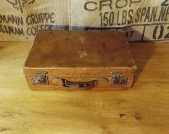 Vintage French Leather Suitcase