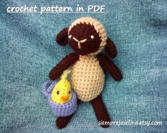 INSTANT DOWNLOAD - PDF - Little lamb and his baby chick friend - crochet pattern