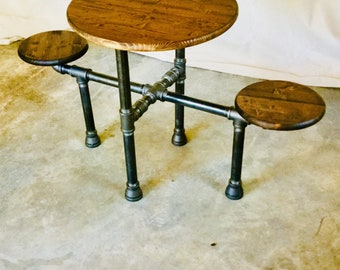 """Industrial Design Black Pipe Table """"DIY"""" Parts Kit, 1-1/4"""" Black Pipe- Optional table top/seats, FREE SHIPPING!!"""