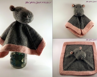 Hand-Knit Cuddle Blanket - Knitted Hippo Lovey Blanket - Knit Hippo Security Blanket for Baby