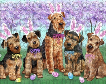 Airedale Terriers Dog Easter Holiday Puzzle with Photo Tin