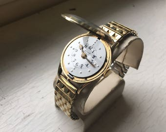 Braille GF Gold Filled Cool Face Wind Up Working Watch Swiss Movement 1940's Beauty Mens or Womens