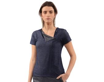 womens shirt - Womens tops - summer top ,Blue blouse, sleeveless top - short sleeve  blouse, summer blouse