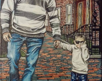 Custom Portrait, Family Portrait, Dad and Son
