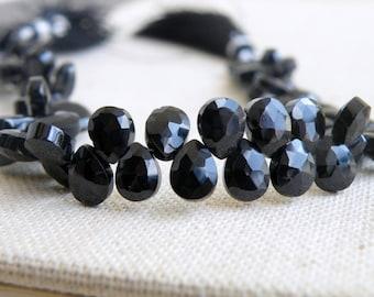 Black Spinel Gemstone Faceted Pear Teardrop Briolette 9mm 25 beads 1/2 Strand