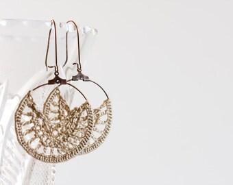 Half Moon Earrings, Crescent Earrings, Half Circle Earrings, Silk Thread Dangle Earrings, Champagne Earrings, Boho Chic Small Hoop Earrings