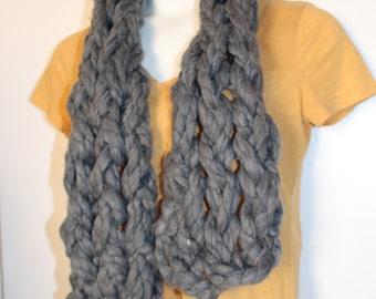 Slate Grey Arm Knit Chunky Scarf