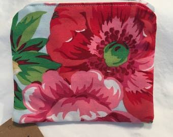 Laura Ashley coin purse, floral purse, change purse, zip pouch, zipped pouch, change pouch, gift for her, fabric purse, colourful wallet,