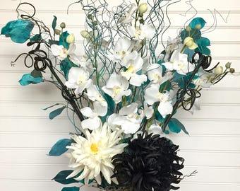 Modern Silk Flower Arrangement, Contemporary Floral Arrangement, Modern Decor, Mums, Dahlia, and Orchids, Curly Ting Centerpiece