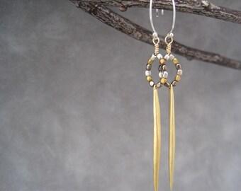 Stick Earrings - Mixed Metal Long Earrings - Ethnic Inspired - African Beads - Everyday - Dangle Earrings - Drop Earrings