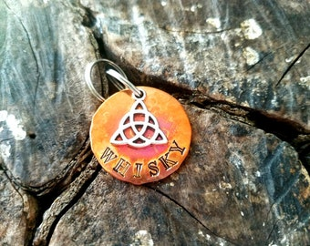 Custom Hand Stamped Heat Colored Copper Celtic Dog ID Tag, Hand Stamped Copper Celtic Dog ID Tag, Irish Dog ID Tag, Cute Celtic Dog Tag