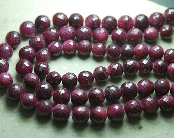 4 Inch Full Strand, Natural Dyed Ruby Faceted Round Balls Beads,11-12mm