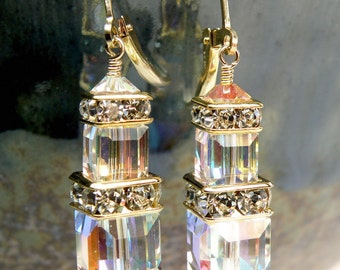 Ice Swarovski Crystal Earrings, Clear Cube Earrings, Gold Filled, Cube Dangle Earrings, October Birthday Gift, Opal Birthstone Earrings