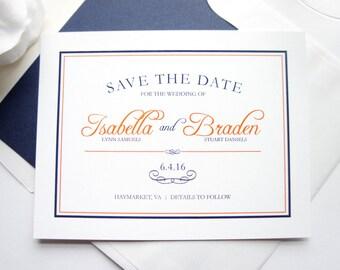 Orange Save the Dates - Modern Save the Dates, Orange and Navy Wedding Save the Date, Blue Save the Dates - DEPOSIT