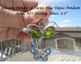 26 ct Peridot & Swiss Blue Topaz Pendant