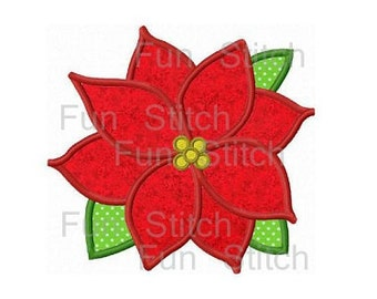 Christmas poinsettia flower applique machine embroidery design