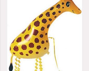 Walking Giraffe Helium Balloon. Airwalking pet. Childrens party balloon. Foil balloon party supply. Animal balloon.