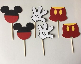 24 Mickey Mouse cupcake toppers. Set of 24. Perfect for Birthday parties or baby showers. Free Shipping