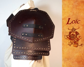 Shoulder pads, riveted leather buffalo piece of medieval armor