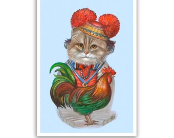 Cat and the Rooster - Cat Art Print - Cat Art Gifts, Wall Decor - in Russian Costume - Pet Portraits by Maria Pishvanova