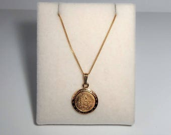 9ct Gold over Sterling Silver St Christopher Pendant Necklace.