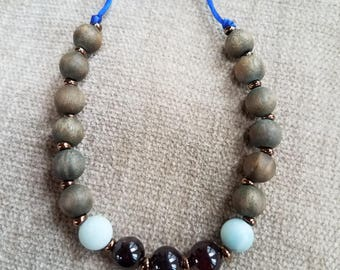 Sandalwood, amazonite and garnet adjustable macrame bracelet