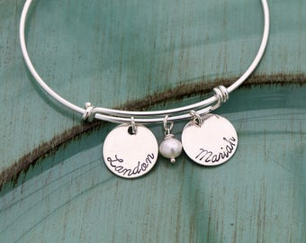 Sterling Silver Bangle • Personalized Mom Bangle Custom Bangle Bracelet • Mommy Gift Mom Bracelet Adjustable Bracelet Expandable