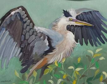 Heron Flying Original Watercolor Painting