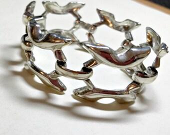 Vintage geometric link bracelet, 7 inches, silvertone metal, mod bracelet, modern bracelet, bold bracelet, 1960s-70s