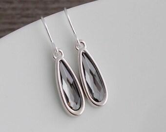 Slender Silver Night Swarovski Crystal Teardrop Earrings; Sterling Silver Fishhook or Lever backs; Gray-Black Crystal Earrings; Bridal