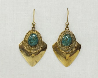 Earrings cast in bronze and turquoise