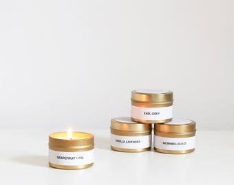Pick Any 3 Gold Travel Soy Candles (4oz) - Hand-Poured - Candlefolk